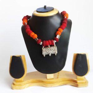 oxidised cotton beads necklace