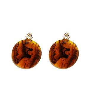 Round earrings stone