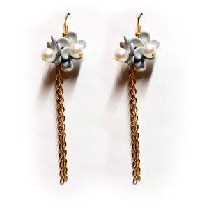 flower pearl chain earrings