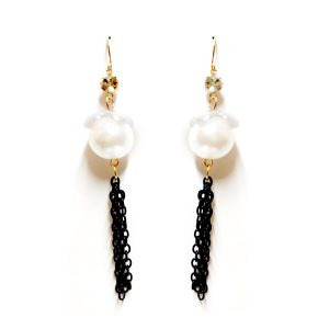 pearl, chain and stone earrings