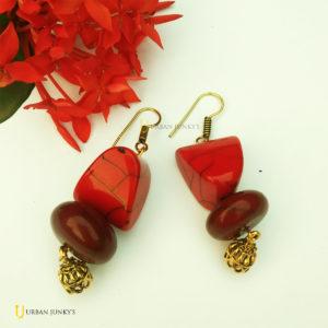 Red maroon beads earrings