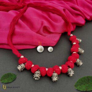 oxidised-cotton-beads-necklace