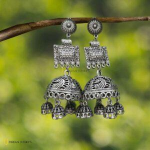 metal-oxidised-jhumka-earrings