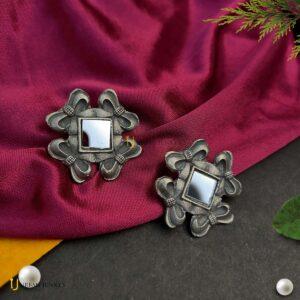 mirror-studded-black-polish-earrings