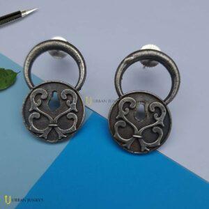 silver replica lock earring stud