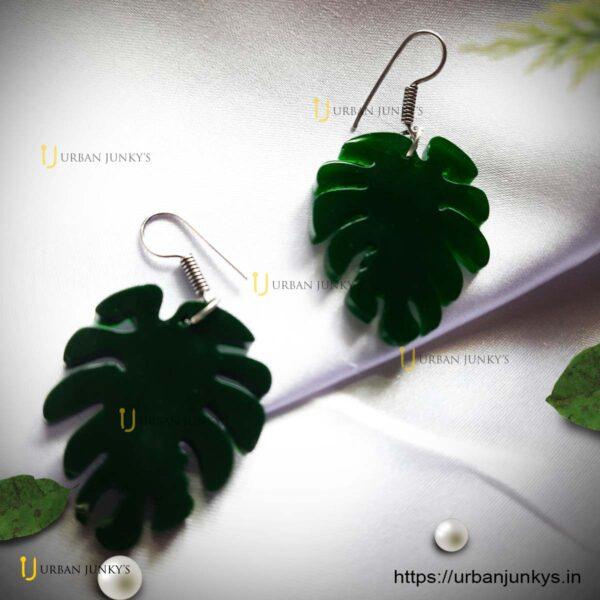 green-resin-leaf-earrings